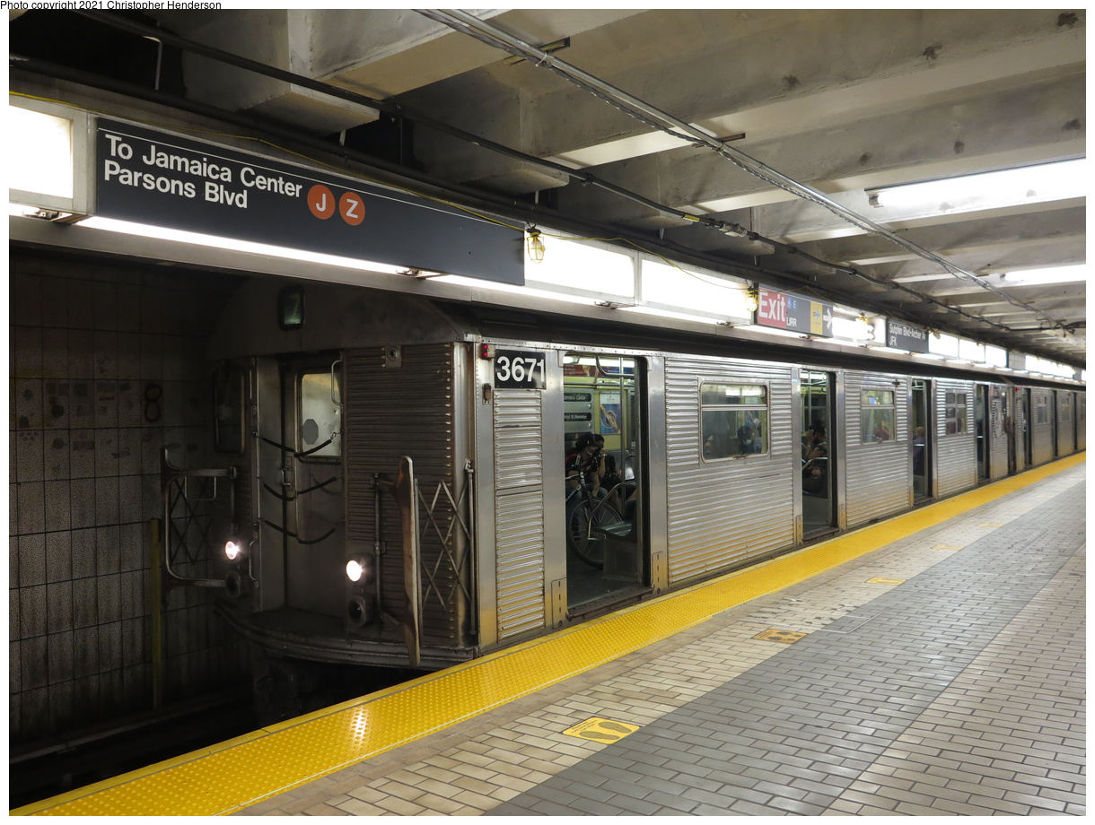 (428k, 1220x920)<br><b>Country:</b> United States<br><b>City:</b> New York<br><b>System:</b> New York City Transit<br><b>Line:</b> BMT Nassau Street-Jamaica Line<br><b>Location:</b> Sutphin Blvd.-Archer Ave./JFK<br><b>Route:</b> Z<br><b>Car:</b> R-32 (Budd, 1964) 3671 <br><b>Photo by:</b> Christopher Henderson<br><b>Date:</b> 7/2/2020<br><b>Viewed (this week/total):</b> 13 / 50