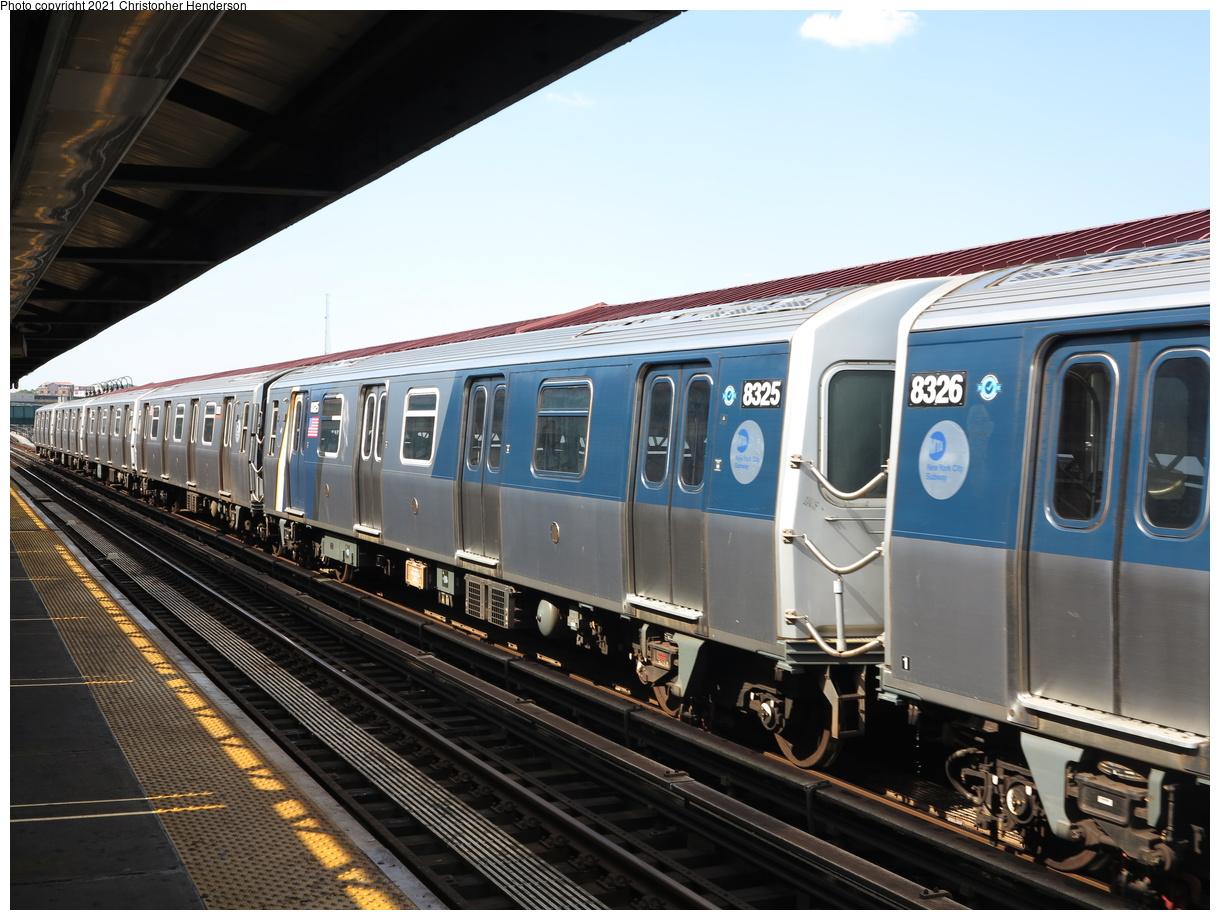 (398k, 1220x920)<br><b>Country:</b> United States<br><b>City:</b> New York<br><b>System:</b> New York City Transit<br><b>Line:</b> BMT Canarsie Line<br><b>Location:</b> Sutter Avenue<br><b>Route:</b> L<br><b>Car:</b> R-160A-1 (Alstom, 2005-2008, 4 car sets) 8325 <br><b>Photo by:</b> Christopher Henderson<br><b>Date:</b> 7/5/2020<br><b>Viewed (this week/total):</b> 4 / 207