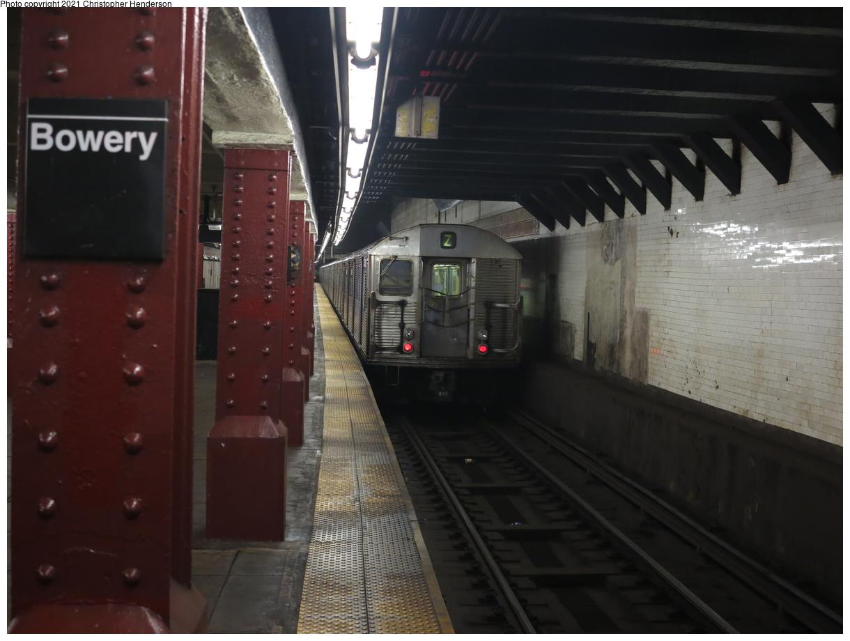 (316k, 1220x920)<br><b>Country:</b> United States<br><b>City:</b> New York<br><b>System:</b> New York City Transit<br><b>Line:</b> BMT Nassau Street-Jamaica Line<br><b>Location:</b> Bowery<br><b>Route:</b> Z<br><b>Car:</b> R-32 (Budd, 1964) 3361 <br><b>Photo by:</b> Christopher Henderson<br><b>Date:</b> 7/6/2020<br><b>Viewed (this week/total):</b> 0 / 165