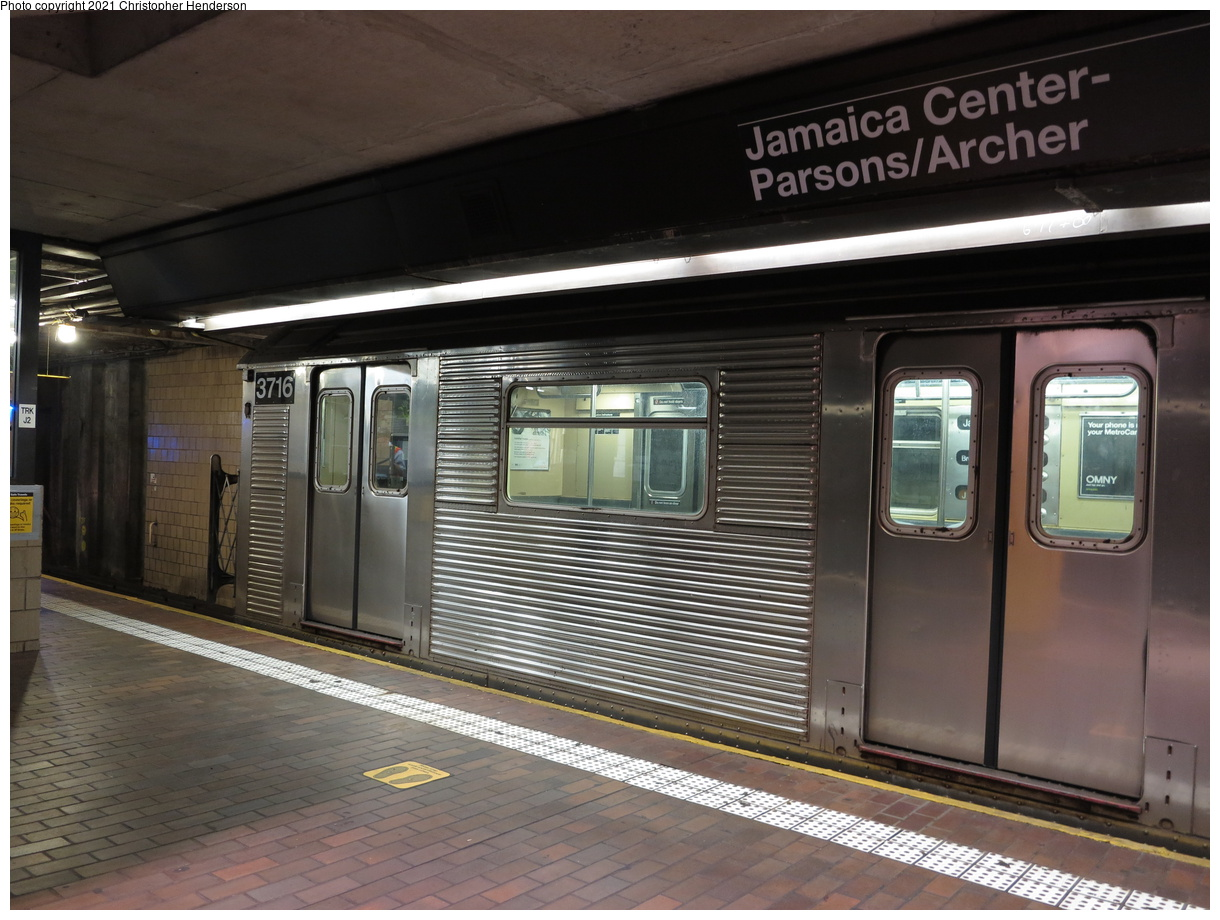 (387k, 1220x920)<br><b>Country:</b> United States<br><b>City:</b> New York<br><b>System:</b> New York City Transit<br><b>Line:</b> BMT Nassau Street-Jamaica Line<br><b>Location:</b> Jamaica Center/Parsons-Archer<br><b>Route:</b> J<br><b>Car:</b> R-32 (Budd, 1964) 3716 <br><b>Photo by:</b> Christopher Henderson<br><b>Date:</b> 7/24/2020<br><b>Viewed (this week/total):</b> 4 / 35
