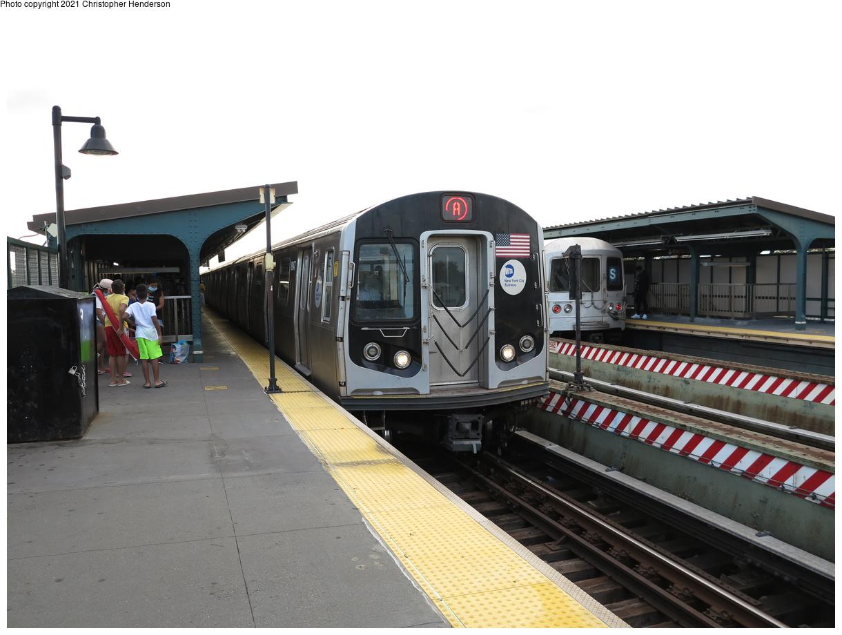 (338k, 1220x920)<br><b>Country:</b> United States<br><b>City:</b> New York<br><b>System:</b> New York City Transit<br><b>Line:</b> IND Fulton Street Line<br><b>Location:</b> Rockaway Boulevard<br><b>Route:</b> A<br><b>Car:</b> R-160B (Kawasaki, 2005-2008) 8947 <br><b>Photo by:</b> Christopher Henderson<br><b>Date:</b> 9/7/2020<br><b>Viewed (this week/total):</b> 2 / 124