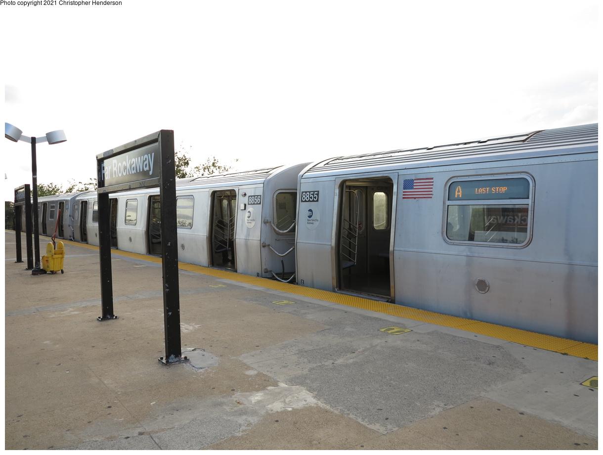 (306k, 1220x920)<br><b>Country:</b> United States<br><b>City:</b> New York<br><b>System:</b> New York City Transit<br><b>Line:</b> IND Rockaway Line<br><b>Location:</b> Mott Avenue/Far Rockaway<br><b>Route:</b> A<br><b>Car:</b> R-160B (Kawasaki, 2005-2008) 8855 <br><b>Photo by:</b> Christopher Henderson<br><b>Date:</b> 9/7/2020<br><b>Viewed (this week/total):</b> 14 / 48