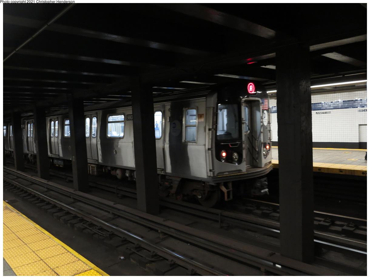(276k, 1220x920)<br><b>Country:</b> United States<br><b>City:</b> New York<br><b>System:</b> New York City Transit<br><b>Line:</b> IND Fulton Street Line<br><b>Location:</b> Broadway-East New York (Broadway Junction)<br><b>Route:</b> A<br><b>Car:</b> R-160B (Option 2) (Kawasaki, 2009) 9808 <br><b>Photo by:</b> Christopher Henderson<br><b>Date:</b> 9/7/2020<br><b>Viewed (this week/total):</b> 3 / 132
