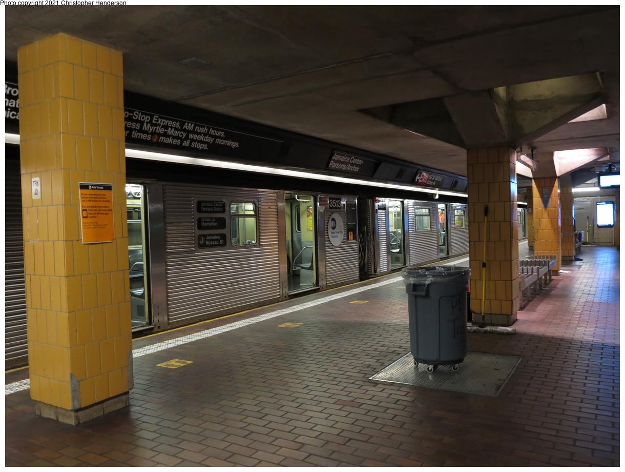 (367k, 1220x920)<br><b>Country:</b> United States<br><b>City:</b> New York<br><b>System:</b> New York City Transit<br><b>Line:</b> BMT Nassau Street-Jamaica Line<br><b>Location:</b> Jamaica Center/Parsons-Archer<br><b>Route:</b> J<br><b>Car:</b> R-32 (Budd, 1964) 3513 <br><b>Photo by:</b> Christopher Henderson<br><b>Date:</b> 9/7/2020<br><b>Viewed (this week/total):</b> 5 / 39