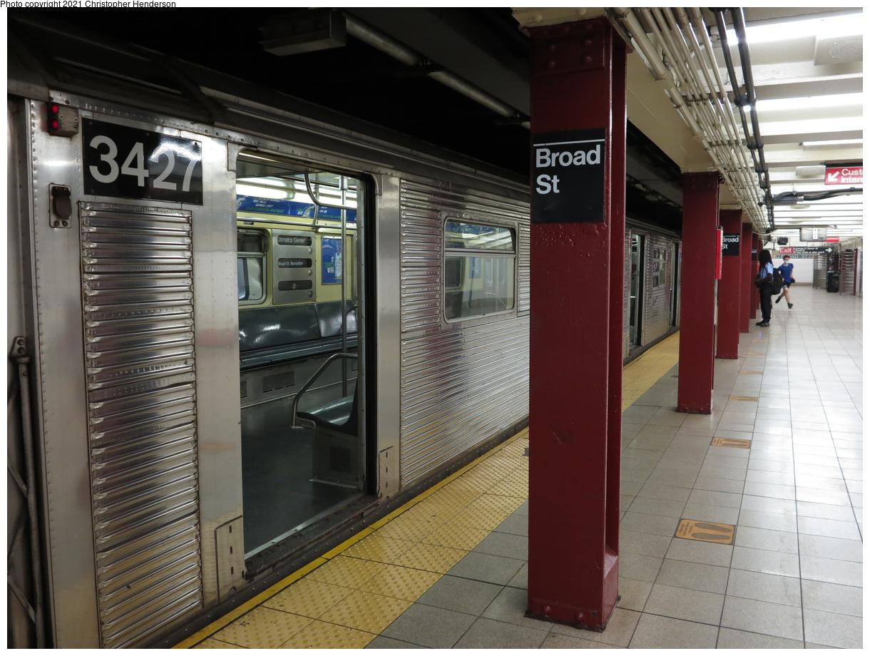 (412k, 1220x920)<br><b>Country:</b> United States<br><b>City:</b> New York<br><b>System:</b> New York City Transit<br><b>Line:</b> BMT Nassau Street-Jamaica Line<br><b>Location:</b> Broad Street<br><b>Route:</b> J<br><b>Car:</b> R-32 (Budd, 1964) 3427 <br><b>Photo by:</b> Christopher Henderson<br><b>Date:</b> 9/24/2020<br><b>Viewed (this week/total):</b> 1 / 118