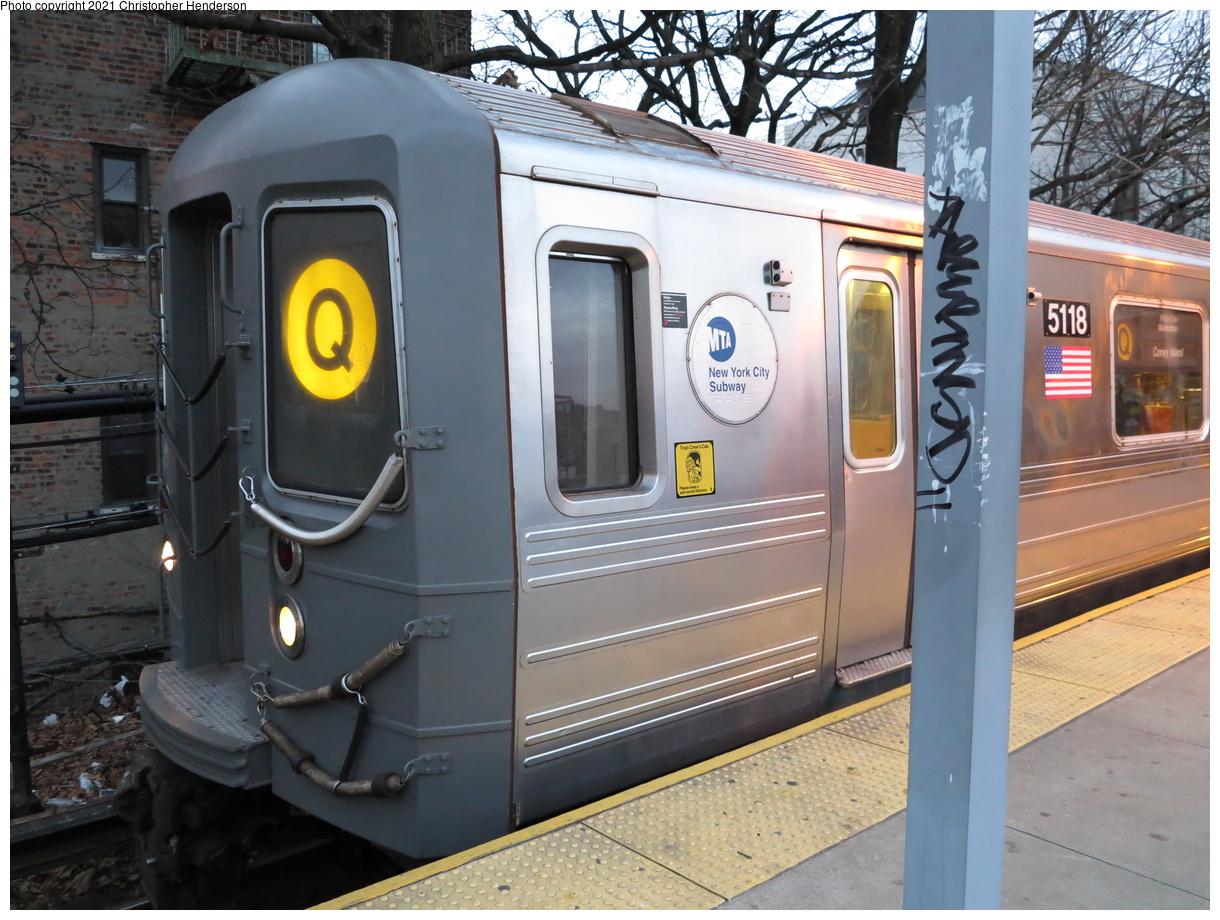(431k, 1220x920)<br><b>Country:</b> United States<br><b>City:</b> New York<br><b>System:</b> New York City Transit<br><b>Line:</b> BMT Brighton Line<br><b>Location:</b> Kings Highway<br><b>Route:</b> Q<br><b>Car:</b> R-68A (Kawasaki, 1988-1989) 5118 <br><b>Photo by:</b> Christopher Henderson<br><b>Date:</b> 1/9/2021<br><b>Viewed (this week/total):</b> 4 / 140