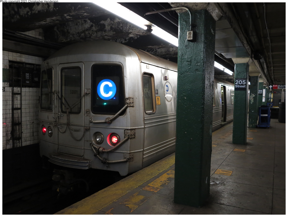 (342k, 1220x920)<br><b>Country:</b> United States<br><b>City:</b> New York<br><b>System:</b> New York City Transit<br><b>Line:</b> IND Concourse Line<br><b>Location:</b> 205th Street<br><b>Route:</b> C<br><b>Car:</b> R-46 (Pullman-Standard, 1974-75)  <br><b>Photo by:</b> Christopher Henderson<br><b>Date:</b> 4/18/2021<br><b>Viewed (this week/total):</b> 0 / 159