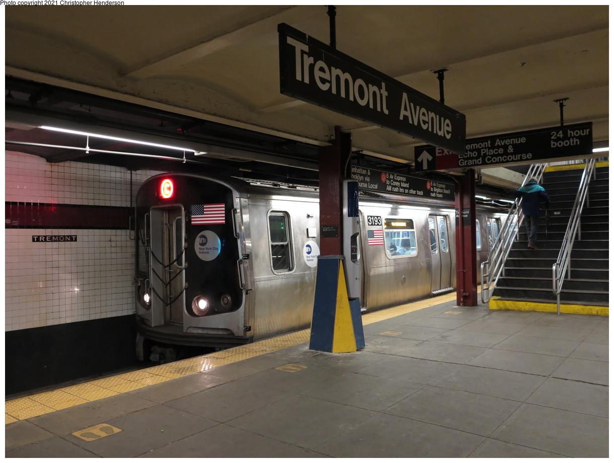 (344k, 1220x920)<br><b>Country:</b> United States<br><b>City:</b> New York<br><b>System:</b> New York City Transit<br><b>Line:</b> IND Concourse Line<br><b>Location:</b> Tremont Avenue<br><b>Route:</b> C<br><b>Car:</b> R-179 (Bombardier, 2016-2019) 3193 <br><b>Photo by:</b> Christopher Henderson<br><b>Date:</b> 4/25/2021<br><b>Viewed (this week/total):</b> 30 / 117