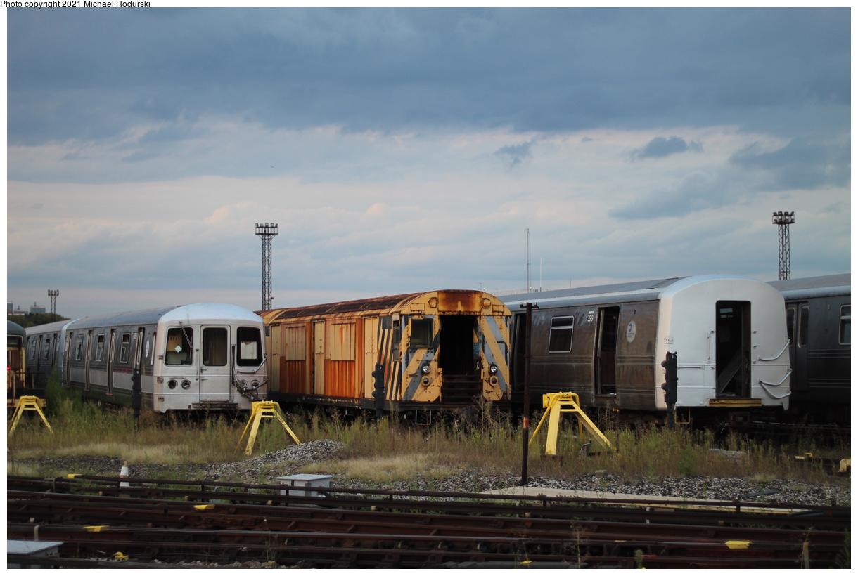 (319k, 1220x820)<br><b>Country:</b> United States<br><b>City:</b> New York<br><b>System:</b> New York City Transit<br><b>Location:</b> Coney Island Yard<br><b>Car:</b> R-123 Continuous Welded Rail Handler (R17/R21/R22 Rebuilds) DCR08 <br><b>Photo by:</b> Michael Hodurski<br><b>Date:</b> 9/8/2019<br><b>Notes:</b> With R-44 SIRT 399<br><b>Viewed (this week/total):</b> 1 / 319