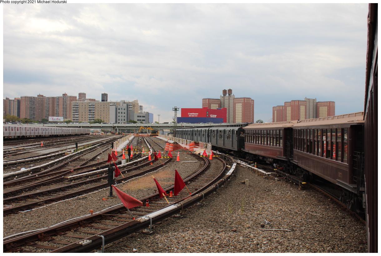 (461k, 1220x820)<br><b>Country:</b> United States<br><b>City:</b> New York<br><b>System:</b> New York City Transit<br><b>Location:</b> Coney Island Yard<br><b>Photo by:</b> Michael Hodurski<br><b>Date:</b> 9/26/2019<br><b>Notes:</b> BMT Gate Cars and IND R-1/9 train transfer for Transit Museum Parade of Trains<br><b>Viewed (this week/total):</b> 0 / 115
