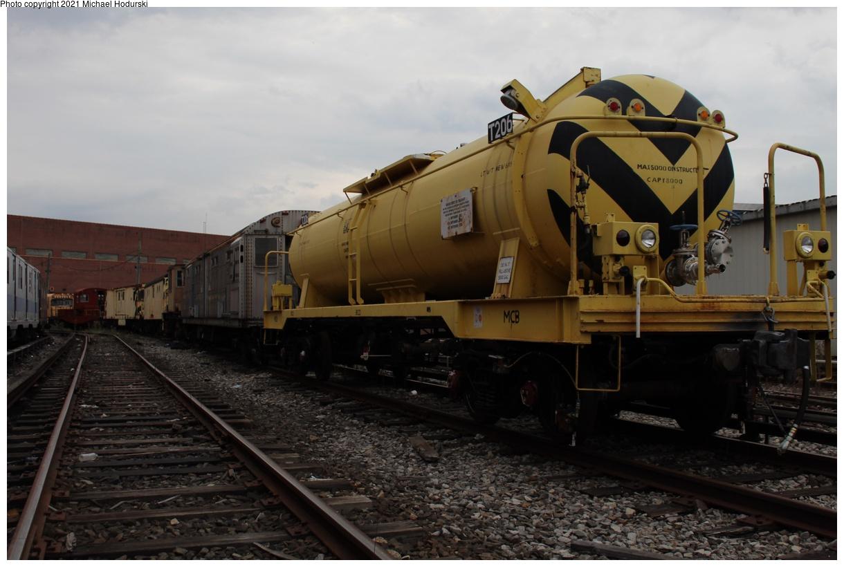(314k, 1220x820)<br><b>Country:</b> United States<br><b>City:</b> New York<br><b>System:</b> New York City Transit<br><b>Location:</b> Coney Island Yard<br><b>Car:</b> R-66 Maintenance of Way Tank 206 <br><b>Photo by:</b> Michael Hodurski<br><b>Date:</b> 9/26/2019<br><b>Viewed (this week/total):</b> 0 / 87