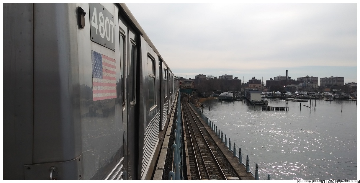 (233k, 1220x620)<br><b>Country:</b> United States<br><b>City:</b> New York<br><b>System:</b> New York City Transit<br><b>Line:</b> IND Rockaway Line<br><b>Location:</b> South Channel Bridge<br><b>Route:</b> A<br><b>Car:</b> R-42 (St. Louis, 1969-1970) 4807 <br><b>Photo by:</b> Michael Hodurski<br><b>Date:</b> 2/12/2020<br><b>Notes:</b> Farewell to the R-42 trip.<br><b>Viewed (this week/total):</b> 0 / 131