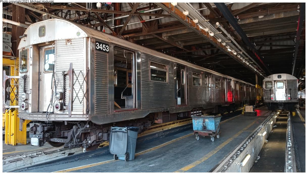 (469k, 1220x695)<br><b>Country:</b> United States<br><b>City:</b> New York<br><b>System:</b> New York City Transit<br><b>Location:</b> 207th Street Shop<br><b>Car:</b> R-32 (Budd, 1964) 3453 <br><b>Photo by:</b> Michael Hodurski<br><b>Date:</b> 7/2/2020<br><b>Viewed (this week/total):</b> 0 / 133