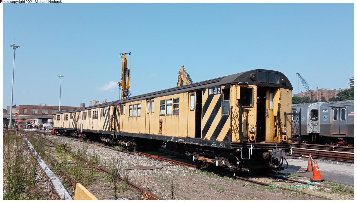 (431k, 1220x695)<br><b>Country:</b> United States<br><b>City:</b> New York<br><b>System:</b> New York City Transit<br><b>Location:</b> 207th Street Yard<br><b>Car:</b> R-161 Rider Car (ex-R-33) RD412 <br><b>Photo by:</b> Michael Hodurski<br><b>Date:</b> 7/2/2020<br><b>Viewed (this week/total):</b> 0 / 91