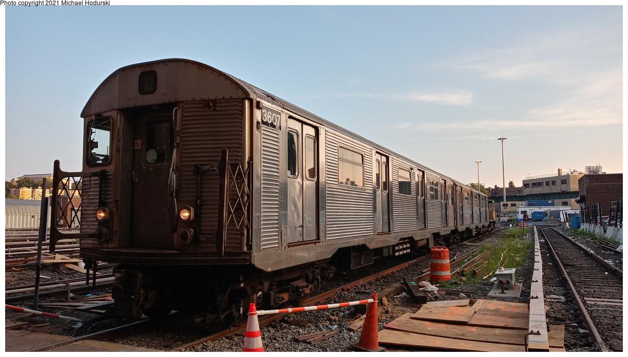 (380k, 1220x695)<br><b>Country:</b> United States<br><b>City:</b> New York<br><b>System:</b> New York City Transit<br><b>Location:</b> 207th Street Yard<br><b>Car:</b> R-32 (Budd, 1964) 3607 <br><b>Photo by:</b> Michael Hodurski<br><b>Date:</b> 7/2/2020<br><b>Viewed (this week/total):</b> 0 / 110
