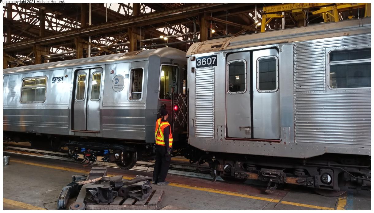 (411k, 1220x695)<br><b>Country:</b> United States<br><b>City:</b> New York<br><b>System:</b> New York City Transit<br><b>Location:</b> 207th Street Shop<br><b>Car:</b> R-68A (Kawasaki, 1988-1989) 5166 <br><b>Photo by:</b> Michael Hodurski<br><b>Date:</b> 7/2/2020<br><b>Notes:</b> With R-32 3607 shop move<br><b>Viewed (this week/total):</b> 0 / 179