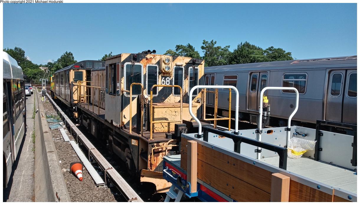 (448k, 1220x695)<br><b>Country:</b> United States<br><b>City:</b> New York<br><b>System:</b> New York City Transit<br><b>Location:</b> Fresh Pond Yard<br><b>Car:</b> R-47 Locomotive 68 <br><b>Photo by:</b> Michael Hodurski<br><b>Date:</b> 7/9/2020<br><b>Viewed (this week/total):</b> 0 / 92