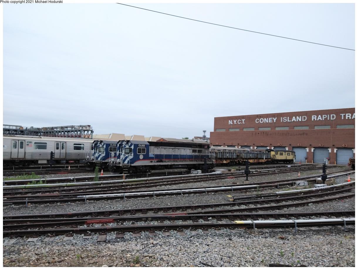 (349k, 1220x920)<br><b>Country:</b> United States<br><b>City:</b> New York<br><b>System:</b> New York City Transit<br><b>Location:</b> Coney Island Yard<br><b>Car:</b> R-156 Diesel-Electric Locomotive (MPI, 2012-2013) 935/936 <br><b>Photo by:</b> Michael Hodurski<br><b>Date:</b> 6/12/2021<br><b>Viewed (this week/total):</b> 0 / 120
