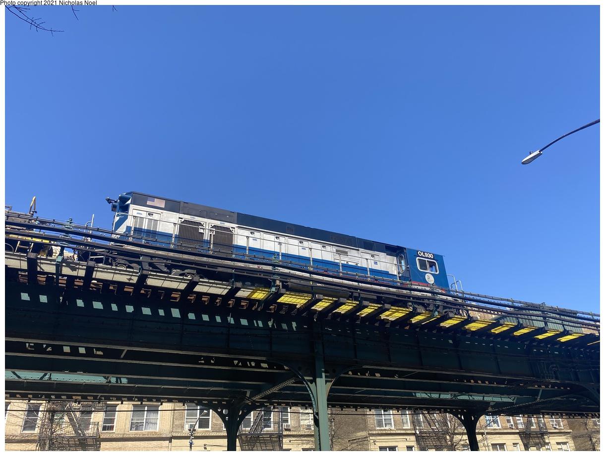 (323k, 1220x920)<br><b>Country:</b> United States<br><b>City:</b> New York<br><b>System:</b> New York City Transit<br><b>Line:</b> IRT West Side Line<br><b>Location:</b> Dyckman Street<br><b>Route:</b> Work Service<br><b>Car:</b> R-156 Diesel-Electric Locomotive (MPI, 2012-2013) 930 <br><b>Photo by:</b> Nicholas Noel<br><b>Date:</b> 3/21/2021<br><b>Viewed (this week/total):</b> 0 / 123