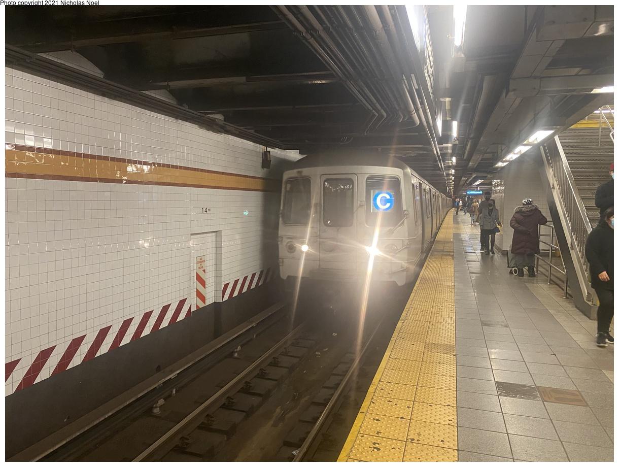 (379k, 1220x920)<br><b>Country:</b> United States<br><b>City:</b> New York<br><b>System:</b> New York City Transit<br><b>Line:</b> IND 8th Avenue Line<br><b>Location:</b> 14th Street<br><b>Route:</b> C<br><b>Car:</b> R-46 (Pullman-Standard, 1974-75)  <br><b>Photo by:</b> Nicholas Noel<br><b>Date:</b> 4/17/2021<br><b>Viewed (this week/total):</b> 0 / 127