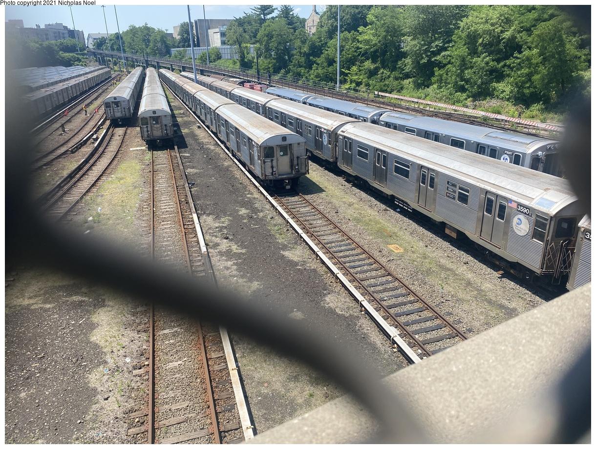 (593k, 1220x920)<br><b>Country:</b> United States<br><b>City:</b> New York<br><b>System:</b> New York City Transit<br><b>Location:</b> Concourse Yard<br><b>Car:</b> R-32 (Budd, 1964) 3590 <br><b>Photo by:</b> Nicholas Noel<br><b>Date:</b> 6/6/2021<br><b>Viewed (this week/total):</b> 0 / 291