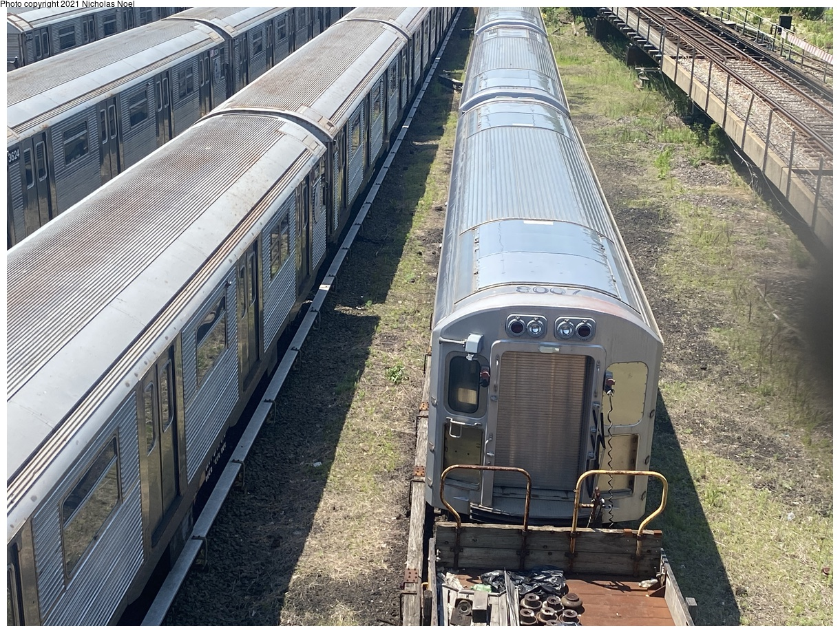 (580k, 1220x920)<br><b>Country:</b> United States<br><b>City:</b> New York<br><b>System:</b> New York City Transit<br><b>Location:</b> Concourse Yard<br><b>Car:</b> R-110A Pump Train Conversion P8007 <br><b>Photo by:</b> Nicholas Noel<br><b>Date:</b> 6/6/2021<br><b>Viewed (this week/total):</b> 0 / 217