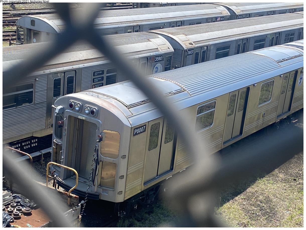 (440k, 1220x920)<br><b>Country:</b> United States<br><b>City:</b> New York<br><b>System:</b> New York City Transit<br><b>Location:</b> Concourse Yard<br><b>Car:</b> R-110A Pump Train Conversion P8007 <br><b>Photo by:</b> Nicholas Noel<br><b>Date:</b> 6/6/2021<br><b>Viewed (this week/total):</b> 0 / 252