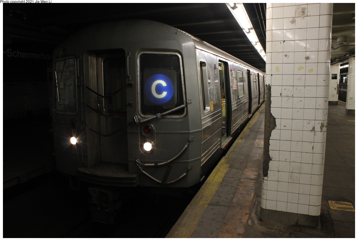 (300k, 1220x820)<br><b>Country:</b> United States<br><b>City:</b> New York<br><b>System:</b> New York City Transit<br><b>Line:</b> IND Fulton Street Line<br><b>Location:</b> Hoyt-Schermerhorn Street<br><b>Route:</b> C<br><b>Car:</b> R-68 (Westinghouse-Amrail, 1986-1988) 2562 <br><b>Photo by:</b> Jie Wen Li<br><b>Date:</b> 4/16/2021<br><b>Notes:</b> Borrowed from the D line due to the C being rerouted to Norwood-205 St that day.<br><b>Viewed (this week/total):</b> 3 / 55