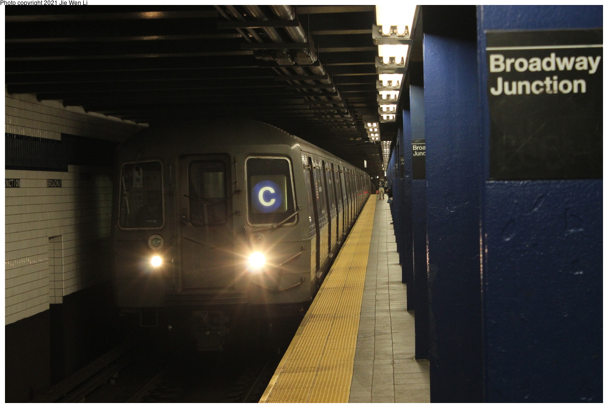 (299k, 1220x820)<br><b>Country:</b> United States<br><b>City:</b> New York<br><b>System:</b> New York City Transit<br><b>Line:</b> IND Fulton Street Line<br><b>Location:</b> Broadway-East New York (Broadway Junction)<br><b>Route:</b> C<br><b>Car:</b> R-68 (Westinghouse-Amrail, 1986-1988) 2514 <br><b>Photo by:</b> Jie Wen Li<br><b>Date:</b> 4/16/2021<br><b>Notes:</b> Borrowed from the D line due to the C being rerouted to Norwood-205 St that day.<br><b>Viewed (this week/total):</b> 3 / 67