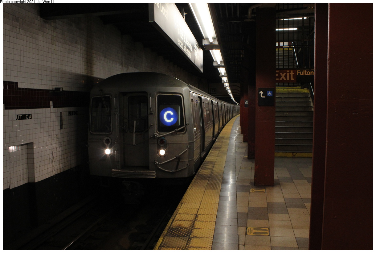 (301k, 1220x820)<br><b>Country:</b> United States<br><b>City:</b> New York<br><b>System:</b> New York City Transit<br><b>Line:</b> IND Fulton Street Line<br><b>Location:</b> Utica Avenue<br><b>Route:</b> C<br><b>Car:</b> R-68 (Westinghouse-Amrail, 1986-1988) 2574 <br><b>Photo by:</b> Jie Wen Li<br><b>Date:</b> 4/16/2021<br><b>Notes:</b> Borrowed from the D line due to the C being rerouted to Norwood-205 St that day.<br><b>Viewed (this week/total):</b> 3 / 48