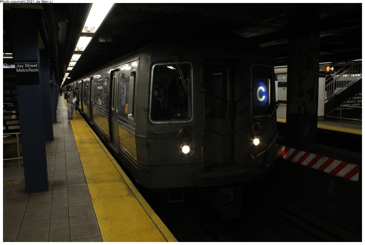 (273k, 1220x820)<br><b>Country:</b> United States<br><b>City:</b> New York<br><b>System:</b> New York City Transit<br><b>Line:</b> IND 8th Avenue Line<br><b>Location:</b> Jay St./Metrotech (Borough Hall)<br><b>Route:</b> C<br><b>Car:</b> R-68 (Westinghouse-Amrail, 1986-1988) 2632 <br><b>Photo by:</b> Jie Wen Li<br><b>Date:</b> 4/16/2021<br><b>Notes:</b> Borrowed from the D line due to the C being rerouted to Norwood-205 St that day.<br><b>Viewed (this week/total):</b> 3 / 41