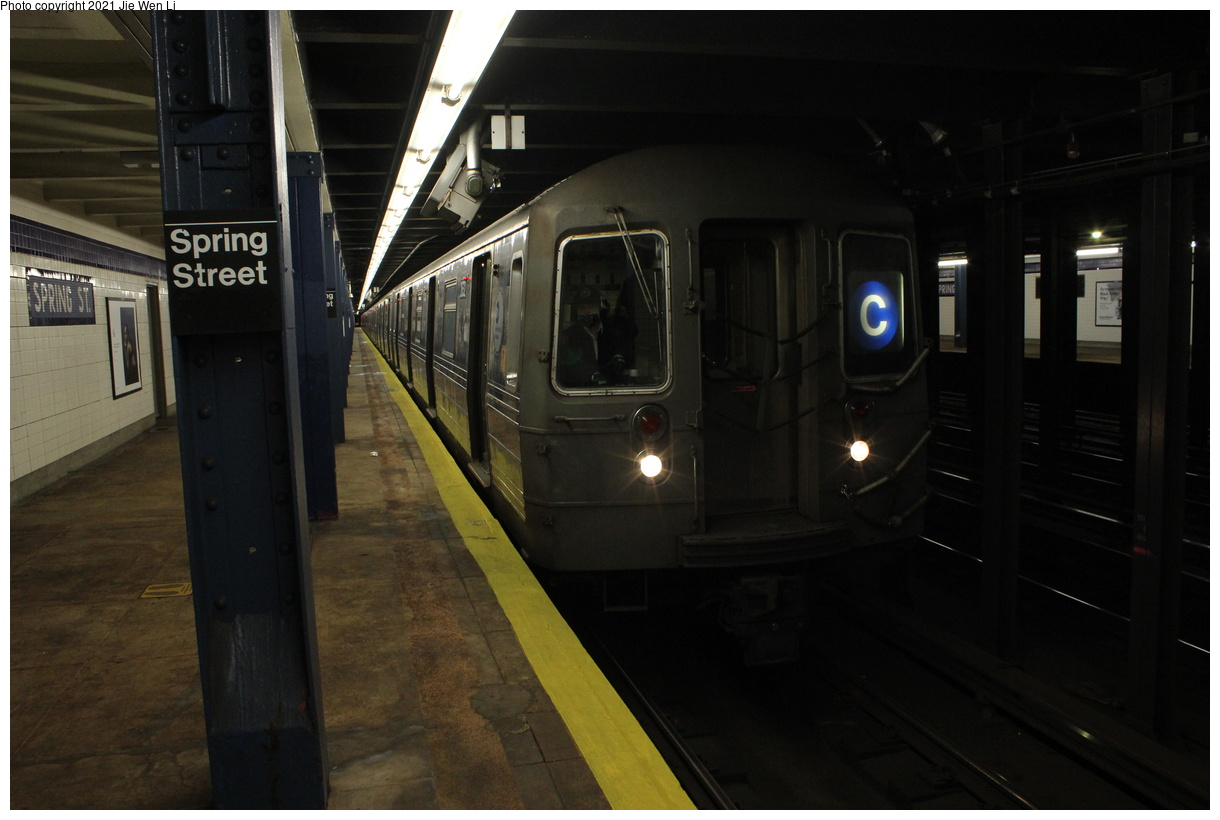 (294k, 1220x820)<br><b>Country:</b> United States<br><b>City:</b> New York<br><b>System:</b> New York City Transit<br><b>Line:</b> IND 8th Avenue Line<br><b>Location:</b> Spring Street<br><b>Route:</b> C<br><b>Car:</b> R-68 (Westinghouse-Amrail, 1986-1988) 2632 <br><b>Photo by:</b> Jie Wen Li<br><b>Date:</b> 4/16/2021<br><b>Notes:</b> Borrowed from the D line due to the C being rerouted to Norwood-205 St that day.<br><b>Viewed (this week/total):</b> 3 / 36