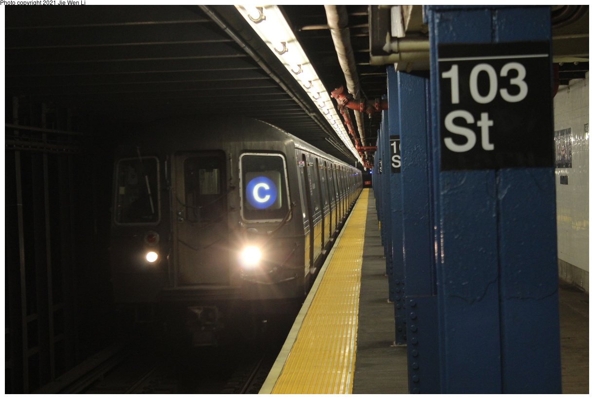 (290k, 1220x820)<br><b>Country:</b> United States<br><b>City:</b> New York<br><b>System:</b> New York City Transit<br><b>Line:</b> IND 8th Avenue Line<br><b>Location:</b> 103rd Street<br><b>Route:</b> C<br><b>Car:</b> R-68 (Westinghouse-Amrail, 1986-1988) 2542 <br><b>Photo by:</b> Jie Wen Li<br><b>Date:</b> 4/17/2021<br><b>Notes:</b> Borrowed from the D line due to the C being rerouted to Norwood-205 St that day.<br><b>Viewed (this week/total):</b> 3 / 46