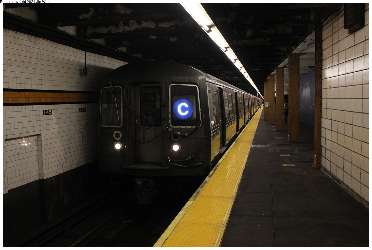 (324k, 1220x820)<br><b>Country:</b> United States<br><b>City:</b> New York<br><b>System:</b> New York City Transit<br><b>Line:</b> IND Concourse Line<br><b>Location:</b> 145th Street<br><b>Route:</b> C<br><b>Car:</b> R-68 (Westinghouse-Amrail, 1986-1988) 2542 <br><b>Photo by:</b> Jie Wen Li<br><b>Date:</b> 4/17/2021<br><b>Notes:</b> Borrowed from the D line due to the C being rerouted to Norwood-205 St that day.<br><b>Viewed (this week/total):</b> 3 / 84