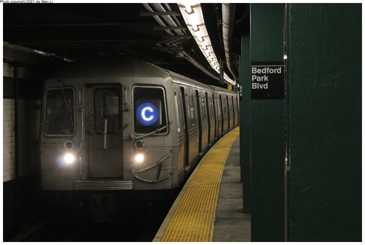 (284k, 1220x820)<br><b>Country:</b> United States<br><b>City:</b> New York<br><b>System:</b> New York City Transit<br><b>Line:</b> IND Concourse Line<br><b>Location:</b> Bedford Park Boulevard<br><b>Route:</b> C<br><b>Car:</b> R-68 (Westinghouse-Amrail, 1986-1988) 2574 <br><b>Photo by:</b> Jie Wen Li<br><b>Date:</b> 4/17/2021<br><b>Notes:</b> Borrowed from the D line due to the C being rerouted to Norwood-205 St.<br><b>Viewed (this week/total):</b> 3 / 85