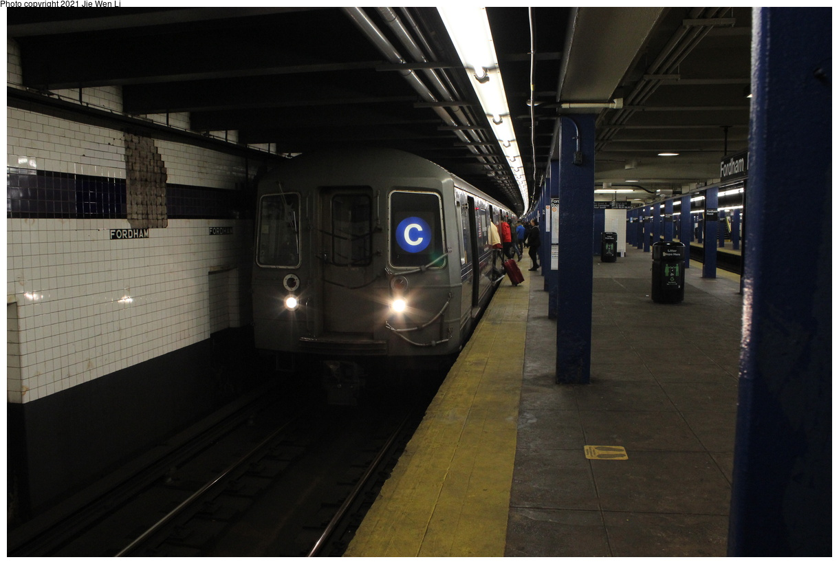 (313k, 1220x820)<br><b>Country:</b> United States<br><b>City:</b> New York<br><b>System:</b> New York City Transit<br><b>Line:</b> IND Concourse Line<br><b>Location:</b> Fordham Road<br><b>Route:</b> C<br><b>Car:</b> R-68 (Westinghouse-Amrail, 1986-1988) 2744 <br><b>Photo by:</b> Jie Wen Li<br><b>Date:</b> 4/17/2021<br><b>Notes:</b> Borrowed from the D line due to the C being rerouted to Norwood-205 St.<br><b>Viewed (this week/total):</b> 3 / 45