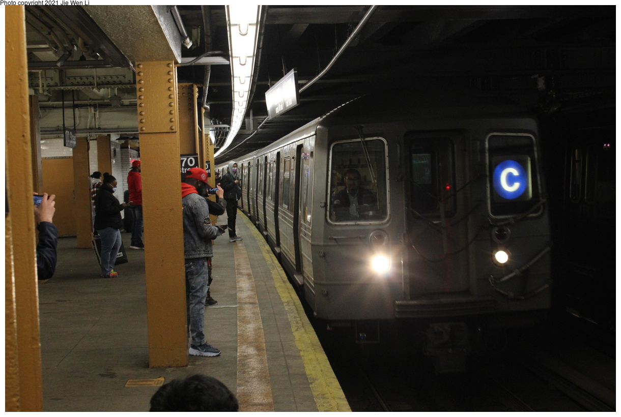 (306k, 1220x820)<br><b>Country:</b> United States<br><b>City:</b> New York<br><b>System:</b> New York City Transit<br><b>Line:</b> IND Concourse Line<br><b>Location:</b> 170th Street<br><b>Route:</b> C<br><b>Car:</b> R-68 (Westinghouse-Amrail, 1986-1988) 2626 <br><b>Photo by:</b> Jie Wen Li<br><b>Date:</b> 4/17/2021<br><b>Notes:</b> Borrowed from the D line due to the C being rerouted to Norwood-205 St.<br><b>Viewed (this week/total):</b> 3 / 62