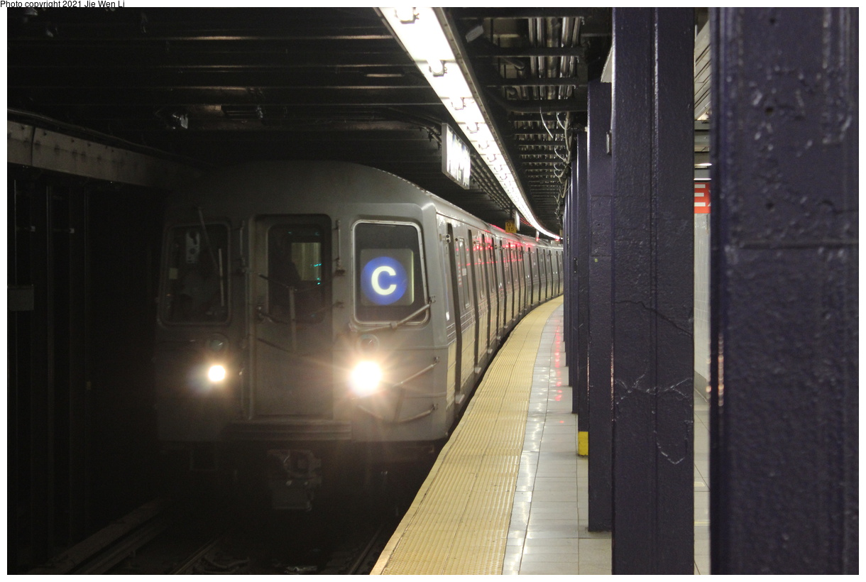 (306k, 1220x820)<br><b>Country:</b> United States<br><b>City:</b> New York<br><b>System:</b> New York City Transit<br><b>Line:</b> IND 8th Avenue Line<br><b>Location:</b> Chambers Street/World Trade Center<br><b>Route:</b> C<br><b>Car:</b> R-68 (Westinghouse-Amrail, 1986-1988) 2514 <br><b>Photo by:</b> Jie Wen Li<br><b>Date:</b> 4/17/2021<br><b>Notes:</b> Borrowed from the D line due to the C being rerouted to Norwood-205 St.<br><b>Viewed (this week/total):</b> 3 / 32