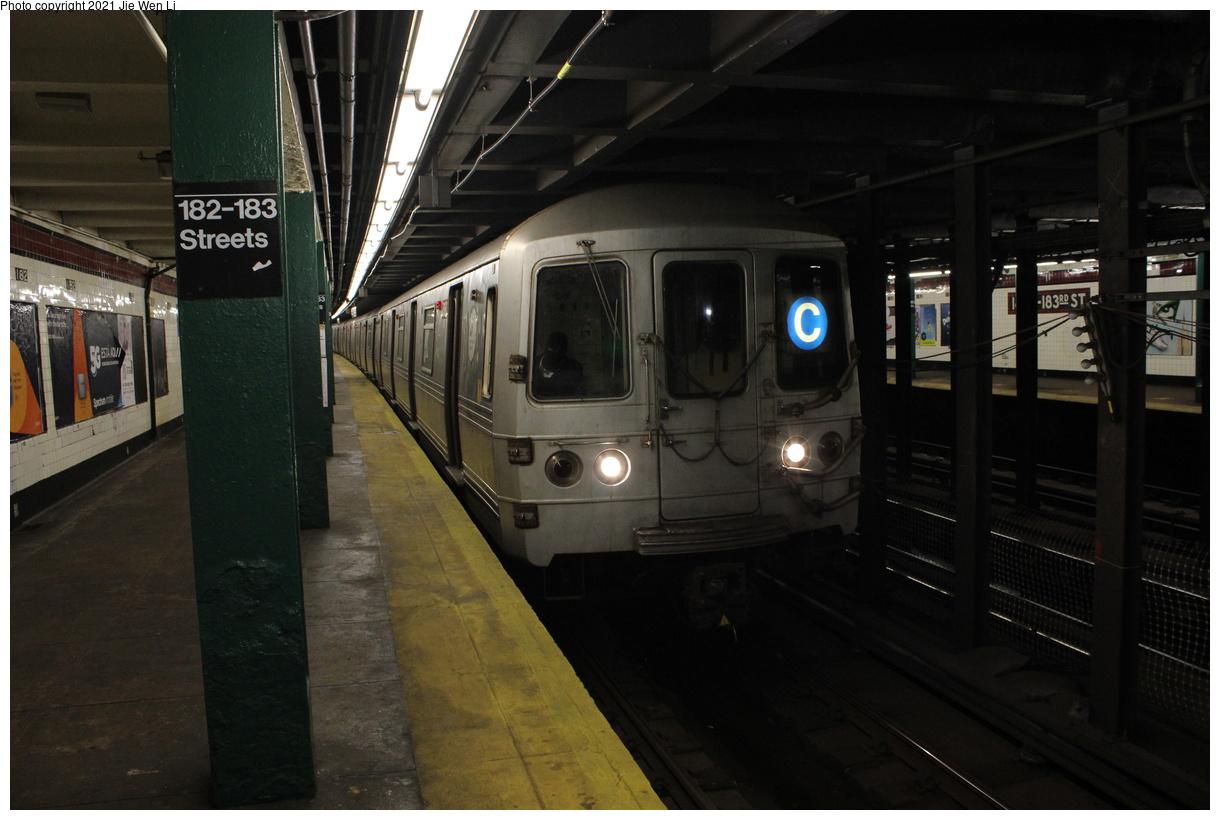 (326k, 1220x820)<br><b>Country:</b> United States<br><b>City:</b> New York<br><b>System:</b> New York City Transit<br><b>Line:</b> IND Concourse Line<br><b>Location:</b> 182nd/183rd Street<br><b>Route:</b> C<br><b>Car:</b> R-46 (Pullman-Standard, 1974-75) 6160 <br><b>Photo by:</b> Jie Wen Li<br><b>Date:</b> 4/18/2021<br><b>Notes:</b> Reroute to Norwood-205 St.<br><b>Viewed (this week/total):</b> 1 / 48