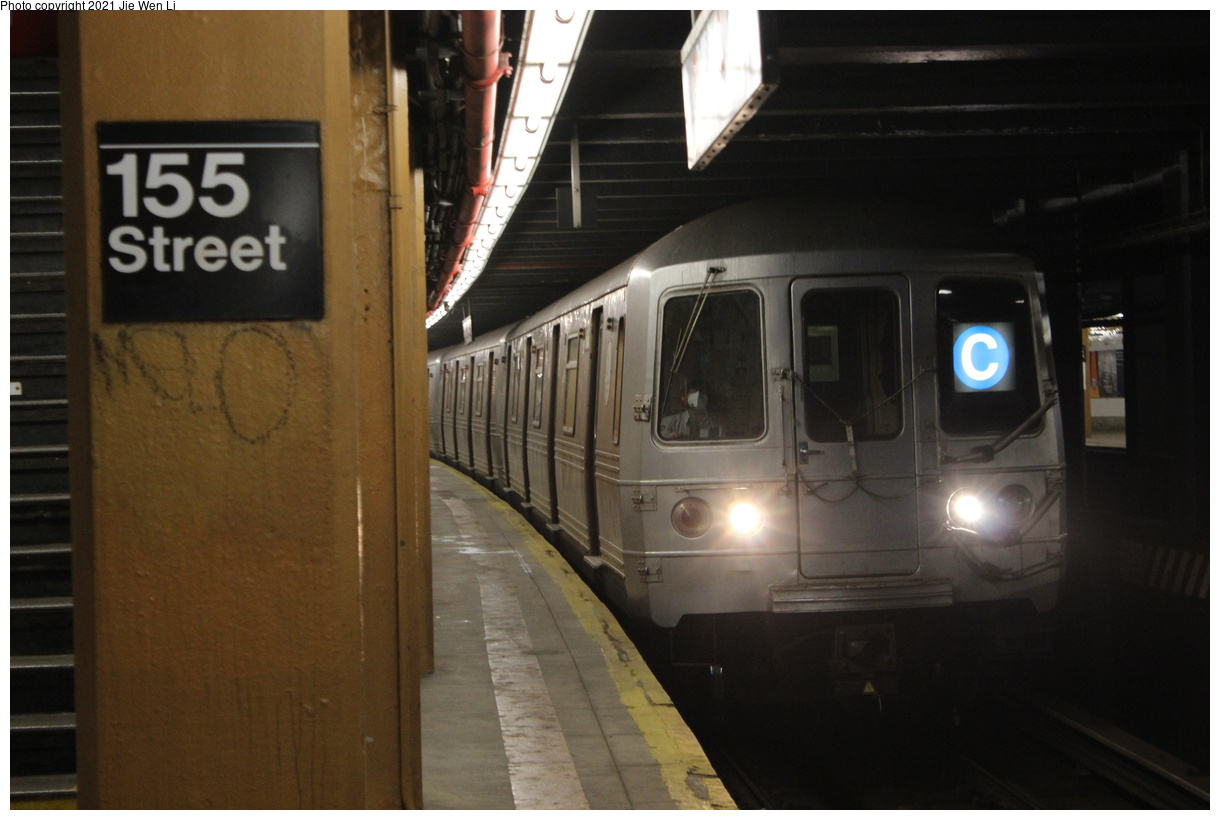 (296k, 1220x820)<br><b>Country:</b> United States<br><b>City:</b> New York<br><b>System:</b> New York City Transit<br><b>Line:</b> IND Concourse Line<br><b>Location:</b> 155th Street/8th Avenue<br><b>Route:</b> C<br><b>Car:</b> R-46 (Pullman-Standard, 1974-75) 6166 <br><b>Photo by:</b> Jie Wen Li<br><b>Date:</b> 4/18/2021<br><b>Notes:</b> Reroute to Norwood-205 St.<br><b>Viewed (this week/total):</b> 0 / 76