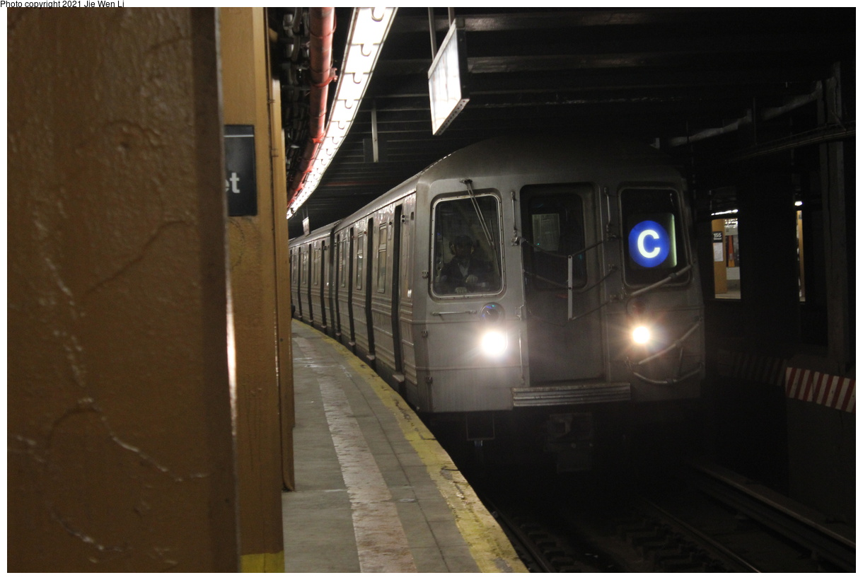 (281k, 1220x820)<br><b>Country:</b> United States<br><b>City:</b> New York<br><b>System:</b> New York City Transit<br><b>Line:</b> IND Concourse Line<br><b>Location:</b> 155th Street/8th Avenue<br><b>Route:</b> C<br><b>Car:</b> R-68 (Westinghouse-Amrail, 1986-1988) 2574 <br><b>Photo by:</b> Jie Wen Li<br><b>Date:</b> 4/18/2021<br><b>Notes:</b> Borrowed from the D line due to the C being rerouted to Norwood-205 St.<br><b>Viewed (this week/total):</b> 3 / 55