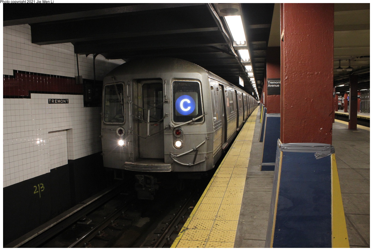 (354k, 1220x820)<br><b>Country:</b> United States<br><b>City:</b> New York<br><b>System:</b> New York City Transit<br><b>Line:</b> IND Concourse Line<br><b>Location:</b> Tremont Avenue<br><b>Route:</b> C<br><b>Car:</b> R-68 (Westinghouse-Amrail, 1986-1988) 2574 <br><b>Photo by:</b> Jie Wen Li<br><b>Date:</b> 4/18/2021<br><b>Notes:</b> Borrowed from the D line due to the C being rerouted to Norwood-205 St.<br><b>Viewed (this week/total):</b> 3 / 63