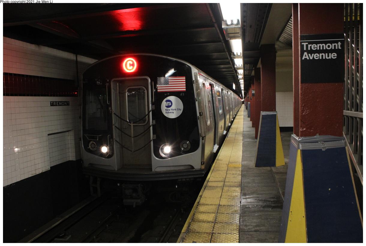 (328k, 1220x820)<br><b>Country:</b> United States<br><b>City:</b> New York<br><b>System:</b> New York City Transit<br><b>Line:</b> IND Concourse Line<br><b>Location:</b> Tremont Avenue<br><b>Route:</b> C<br><b>Car:</b> R-179 (Bombardier, 2016-2019) 3161 <br><b>Photo by:</b> Jie Wen Li<br><b>Date:</b> 4/25/2021<br><b>Notes:</b> Reroute to Norwood-205 St.<br><b>Viewed (this week/total):</b> 3 / 59