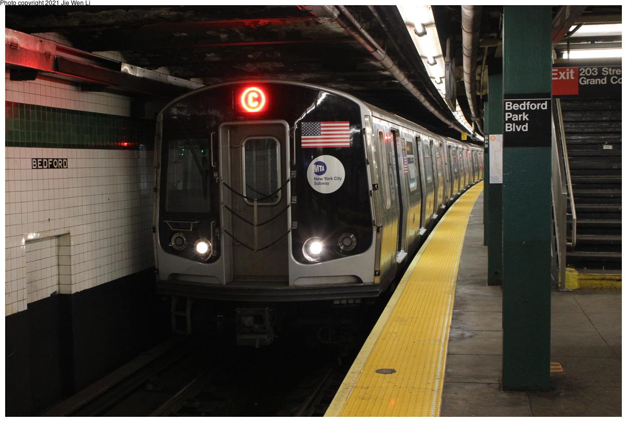 (351k, 1220x820)<br><b>Country:</b> United States<br><b>City:</b> New York<br><b>System:</b> New York City Transit<br><b>Line:</b> IND Concourse Line<br><b>Location:</b> Bedford Park Boulevard<br><b>Route:</b> C<br><b>Car:</b> R-179 (Bombardier, 2016-2019) 3161 <br><b>Photo by:</b> Jie Wen Li<br><b>Date:</b> 4/25/2021<br><b>Notes:</b> Reroute to Norwood-205 St<br><b>Viewed (this week/total):</b> 2 / 57