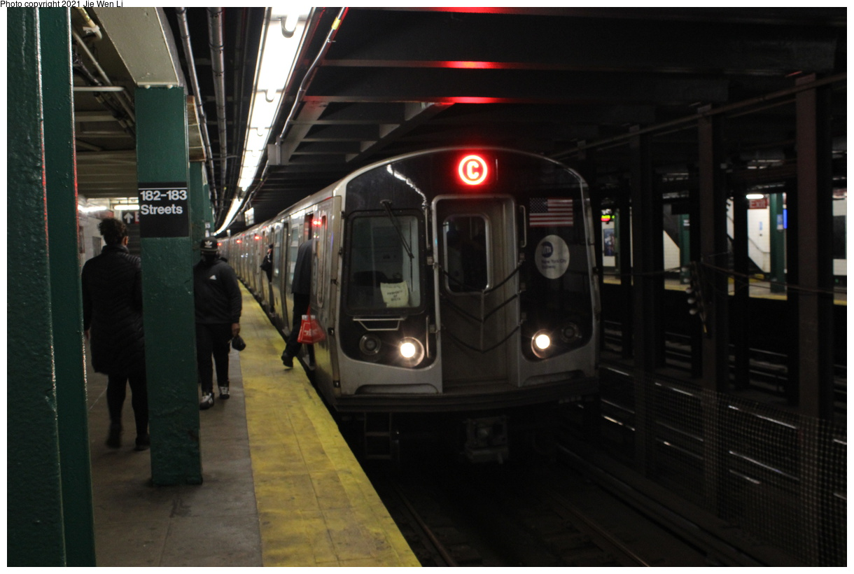 (294k, 1220x820)<br><b>Country:</b> United States<br><b>City:</b> New York<br><b>System:</b> New York City Transit<br><b>Line:</b> IND Concourse Line<br><b>Location:</b> 182nd/183rd Street<br><b>Route:</b> C<br><b>Car:</b> R-179 (Bombardier, 2016-2019) 3193 <br><b>Photo by:</b> Jie Wen Li<br><b>Date:</b> 4/25/2021<br><b>Notes:</b> Reroute to Norwood-205 St<br><b>Viewed (this week/total):</b> 2 / 54