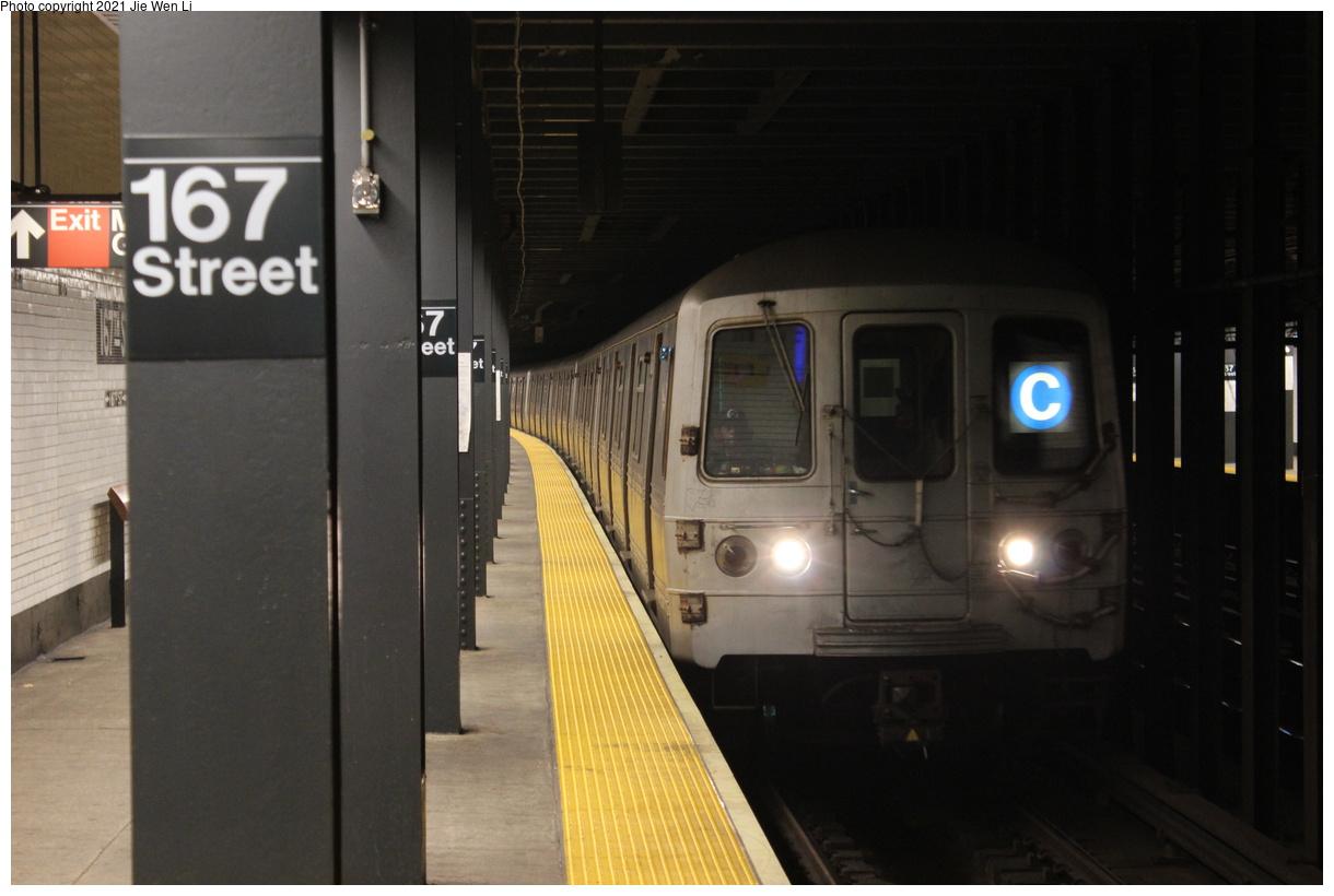 (292k, 1220x820)<br><b>Country:</b> United States<br><b>City:</b> New York<br><b>System:</b> New York City Transit<br><b>Line:</b> IND Concourse Line<br><b>Location:</b> 167th Street<br><b>Route:</b> C<br><b>Car:</b> R-46 (Pullman-Standard, 1974-75) 6138 <br><b>Photo by:</b> Jie Wen Li<br><b>Date:</b> 4/25/2021<br><b>Notes:</b> Reroute to Norwood-205 St<br><b>Viewed (this week/total):</b> 3 / 57