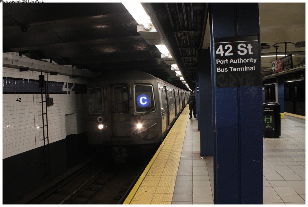 (326k, 1220x820)<br><b>Country:</b> United States<br><b>City:</b> New York<br><b>System:</b> New York City Transit<br><b>Line:</b> IND 8th Avenue Line<br><b>Location:</b> 42nd Street/Port Authority Bus Terminal<br><b>Route:</b> C<br><b>Car:</b> R-68 (Westinghouse-Amrail, 1986-1988) 2648 <br><b>Photo by:</b> Jie Wen Li<br><b>Date:</b> 4/25/2021<br><b>Notes:</b> Borrowed from the D line due to the C being rerouted to Norwood-205 St<br><b>Viewed (this week/total):</b> 4 / 42
