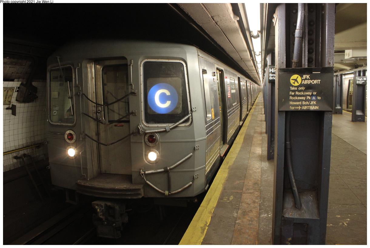 (358k, 1220x820)<br><b>Country:</b> United States<br><b>City:</b> New York<br><b>System:</b> New York City Transit<br><b>Line:</b> IND 8th Avenue Line<br><b>Location:</b> High Street/Brooklyn Bridge<br><b>Route:</b> C<br><b>Car:</b> R-68 (Westinghouse-Amrail, 1986-1988) 2560 <br><b>Photo by:</b> Jie Wen Li<br><b>Date:</b> 4/25/2021<br><b>Notes:</b> Borrowed from the D line due to the C being rerouted to Norwood-205 St<br><b>Viewed (this week/total):</b> 3 / 46