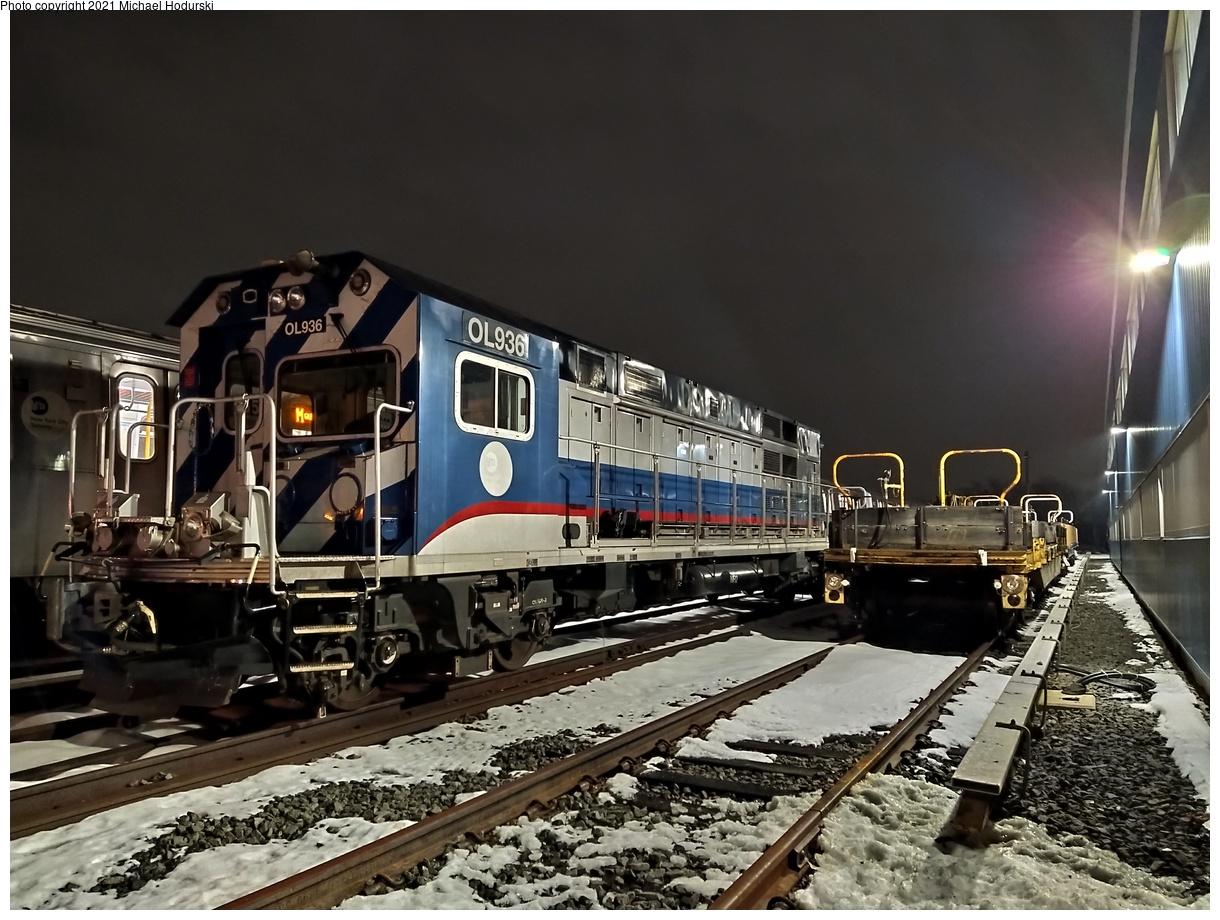 (564k, 1220x920)<br><b>Country:</b> United States<br><b>City:</b> New York<br><b>System:</b> New York City Transit<br><b>Location:</b> Fresh Pond Yard<br><b>Car:</b> R-156 Diesel-Electric Locomotive (MPI, 2012-2013) 936 <br><b>Photo by:</b> Michael Hodurski<br><b>Date:</b> 12/21/2020<br><b>Viewed (this week/total):</b> 0 / 231