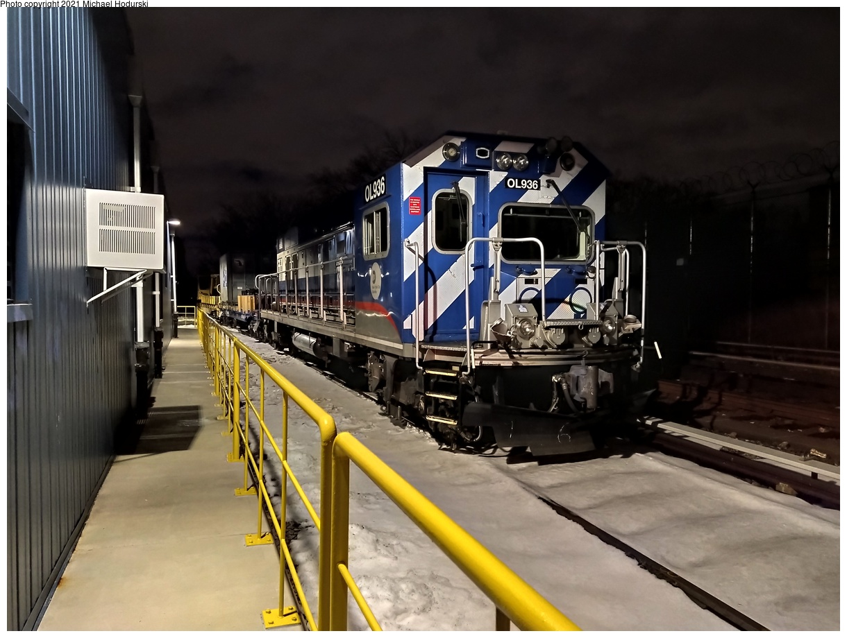 (499k, 1220x920)<br><b>Country:</b> United States<br><b>City:</b> New York<br><b>System:</b> New York City Transit<br><b>Location:</b> Fresh Pond Yard<br><b>Car:</b> R-156 Diesel-Electric Locomotive (MPI, 2012-2013) 936 <br><b>Photo by:</b> Michael Hodurski<br><b>Date:</b> 12/22/2020<br><b>Viewed (this week/total):</b> 0 / 203
